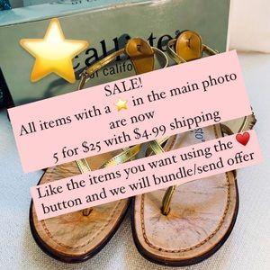 CALLISTO Of California Leather Gold Sandals Sz 7